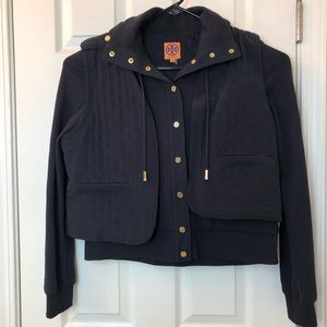 Tory Burch 2-In-1 Hooded Jacket with Quilted Vest